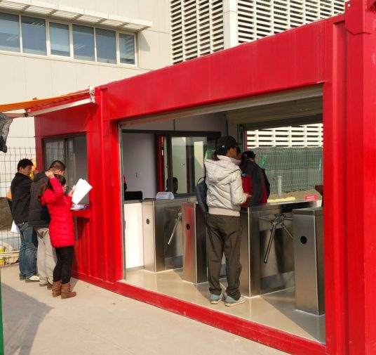 4 lane mobile plug and play turnstile container
